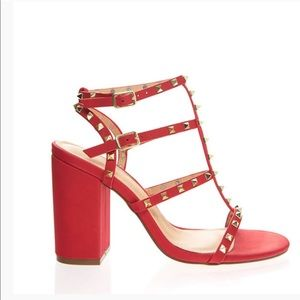 Red strap studded open toe block chunky heel